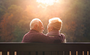 a senior couple watching the sunset